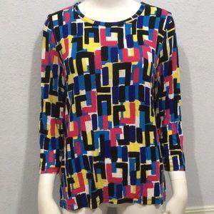 Kasper Long Sleeve Blue, Pink & Black Printed Top